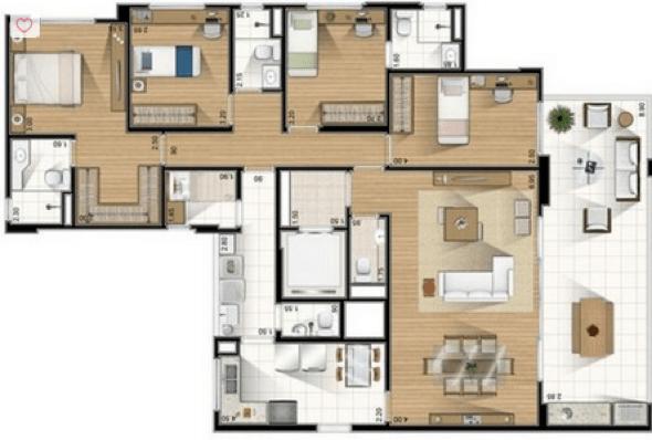 24-plantas de casas com 4 quartos