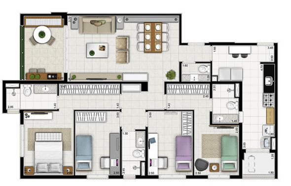 25-plantas de casas com 4 quartos