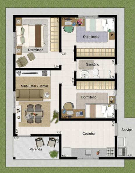 28-plantas de casas com 4 quartos