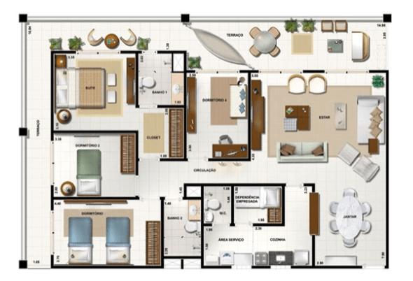 4-plantas de casas com 4 quartos