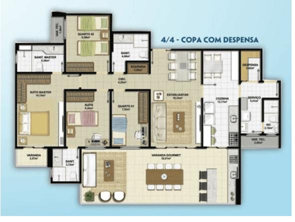 5-plantas de casas com 4 quartos
