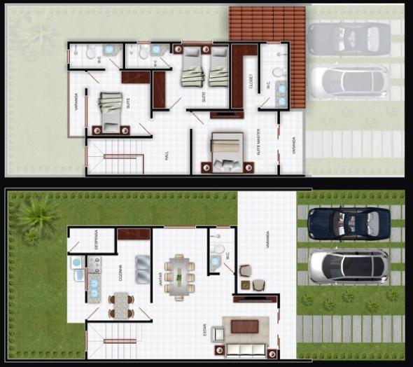 5-plantas de casas com salas grandes