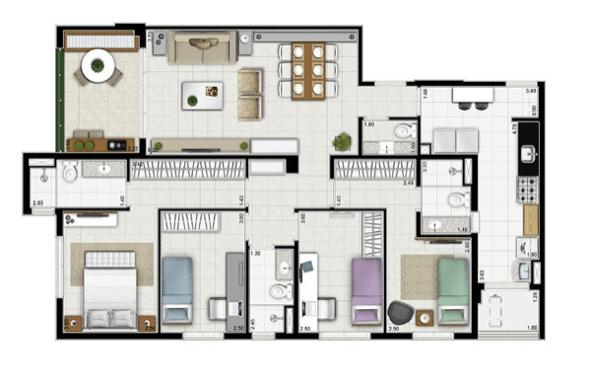 6-plantas de casas com 4 quartos