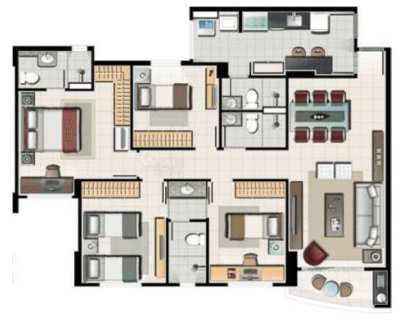8-plantas de casas com 4 quartos