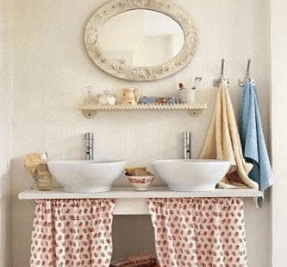14 cortinas para pia de cozinha e banheiro e idéias -> Ideias Criativas Para Pia De Banheiro