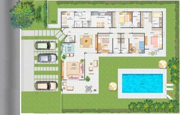 14 modelos de plantas para s tios com varanda e piscina for Paginas de casas
