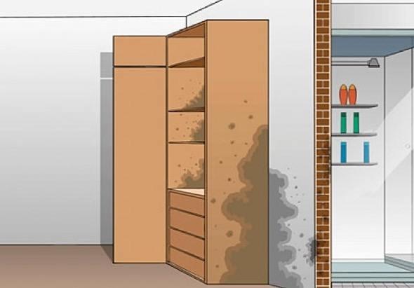 7 maneiras de acabar com mofos em armários embutidos -> Armario Banheiro Mofo
