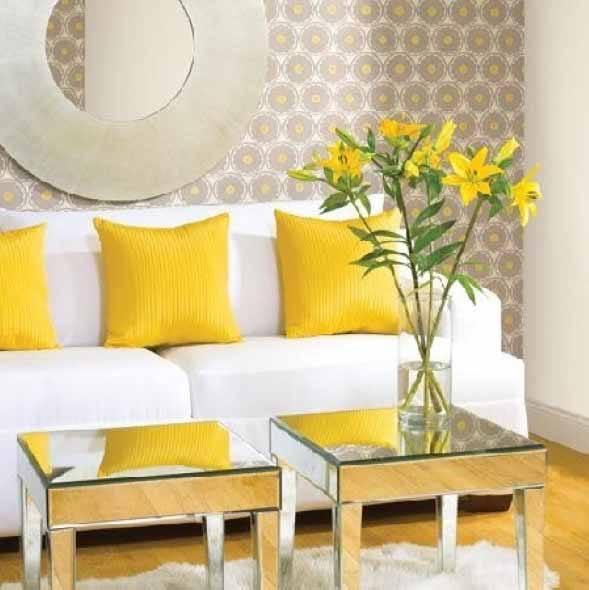 Amarelo na decora o da sala 16 exemplos lindos e dicas for Decoracion de salas en gris y amarillo