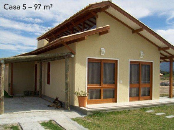 16 pequenos modelos de casas simples para construir for Ideas fachadas de casas pequenas