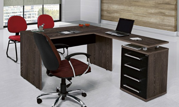 Mesas de escritório em L como usá-las 001