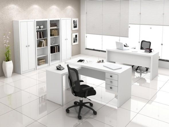 Mesas de escritório em L como usá-las 020
