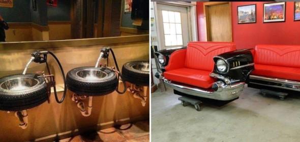 Design retrô com carros antigos na decoração 002