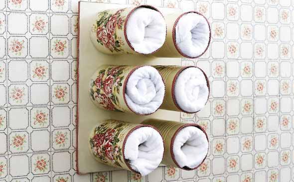 Porta toalhas de lata de leite em pó 008