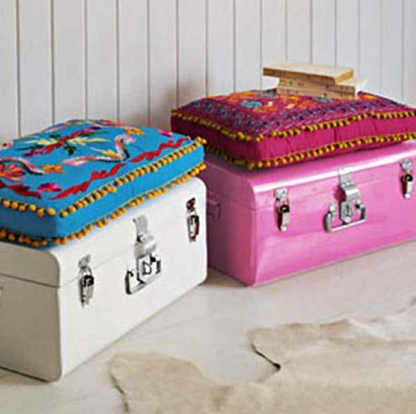 Baús e malas antigas na decoração 002