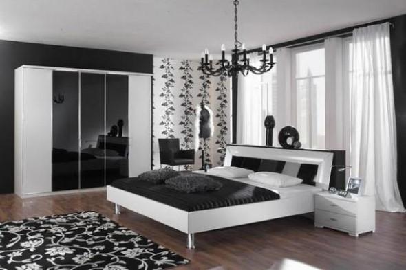 Decoração preto e branco no quarto 002