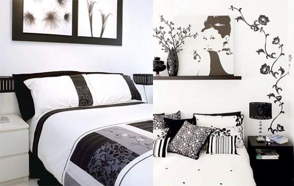 Decoração preto e branco no quarto 003