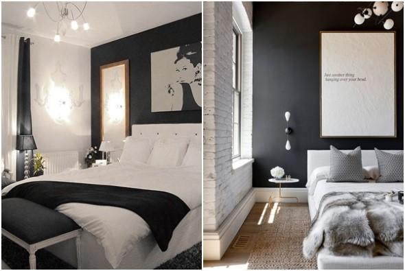 Decoração preto e branco no quarto 006