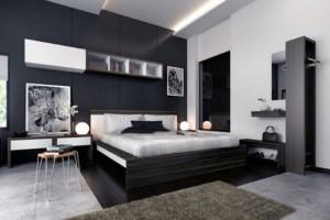 Decoração preto e branco no quarto 008