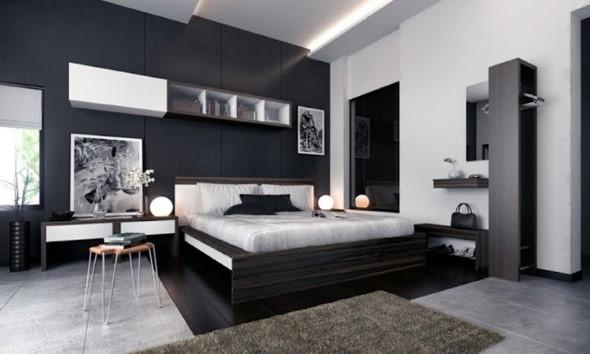 22 modelos de decoração preto e branco no quarto ~ Quartos Decorados Com Papel De Parede Preto E Branco