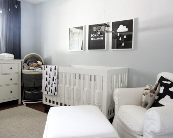 Decoração preto e branco no quarto 011