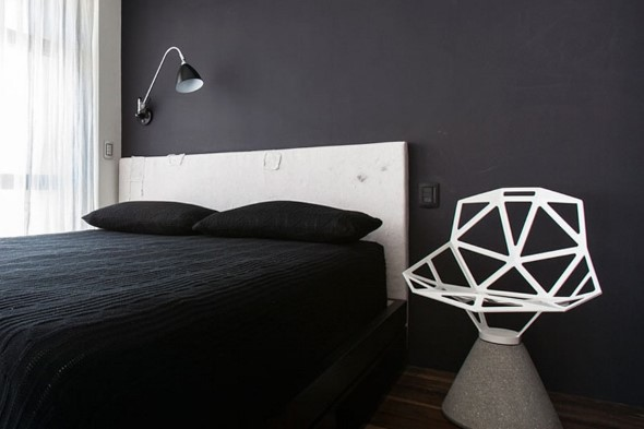 Decoração preto e branco no quarto 013