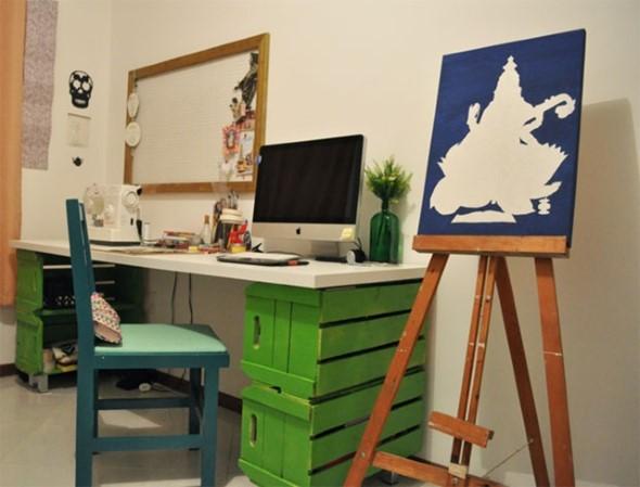 Mesas feitas com paletes e caixotes de feira 011