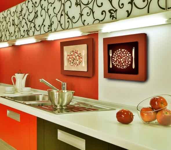 Quadros na decoração da cozinha 015