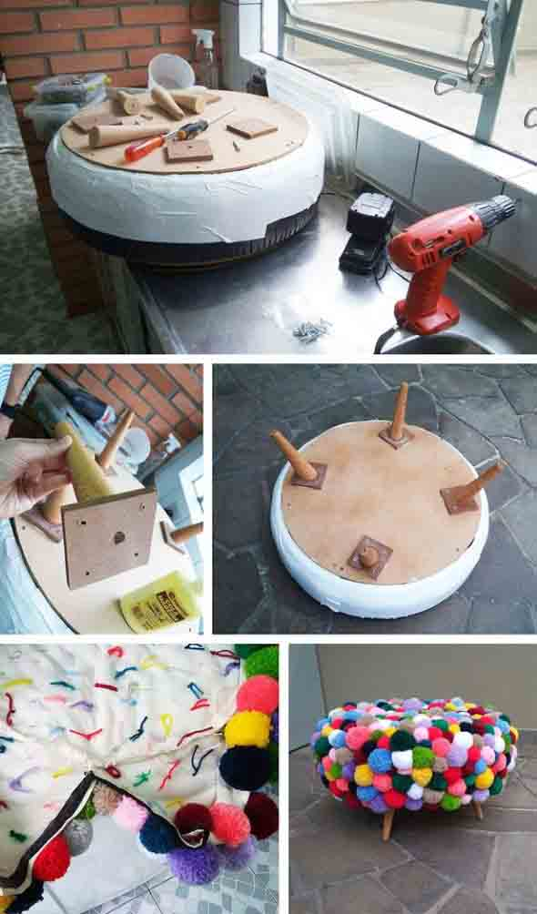 DIY Puff artesanal decorativo 001