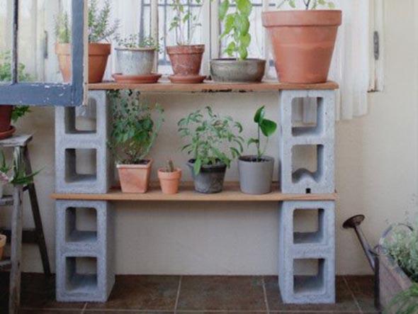 Móveis feitos com blocos de concreto 010