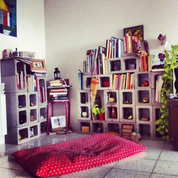 Móveis feitos com blocos de concreto 011
