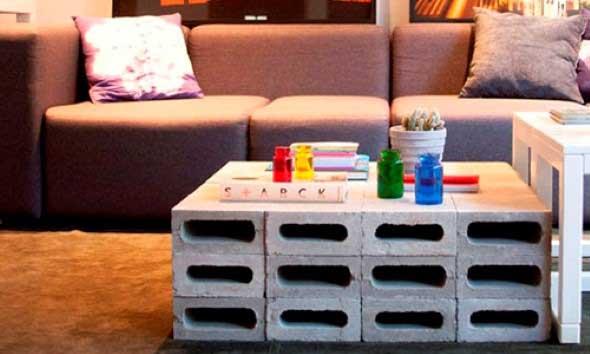 Móveis feitos com blocos de concreto 012