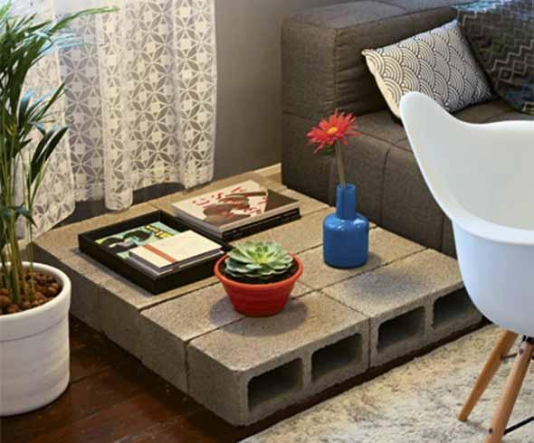 Móveis feitos com blocos de concreto 016