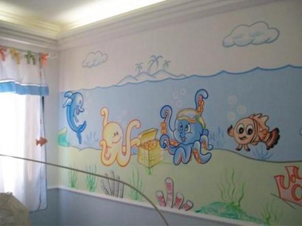 Pinturas divertidas nas paredes do quarto das crianças