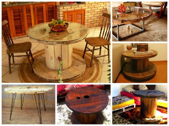 Bancos e mesas rústicas feitas de carretel de madeira 002