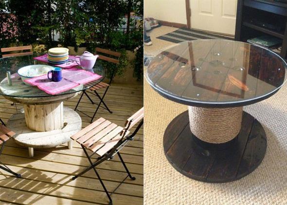 Bancos e mesas rústicas feitas de carretel de madeira 009