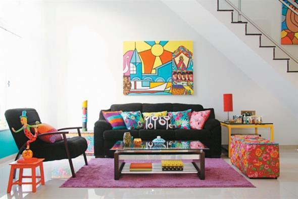 Decorar a sala de estar com um visual descontraído 002