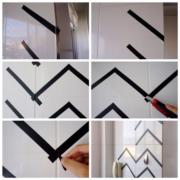 Fita isolante pode ser usada na decoração, pois é fácil de manusear e pode ser aplicada em todo lugar.