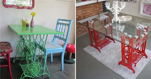 Mesa de máquina de costura antiga na decoração 001