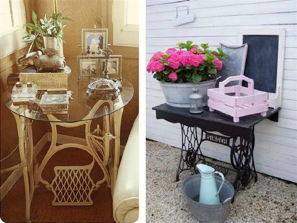 Mesa de máquina de costura antiga na decoração 017