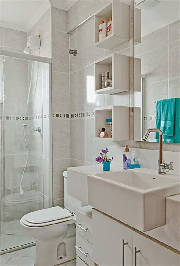 Prateleiras e nichos para deixar seu banheiro mais organizado -> Nicho Para Banheiro Toalhas