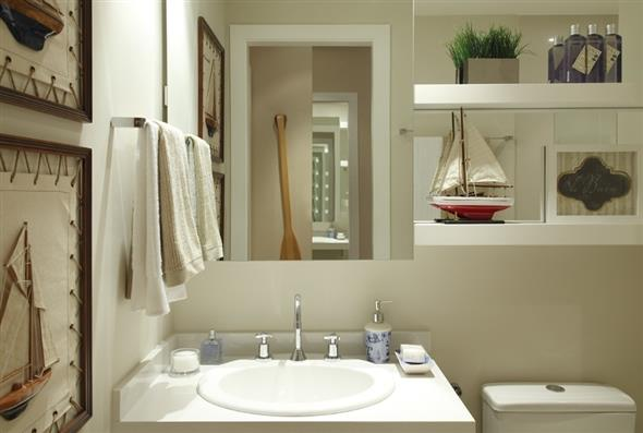 Prateleiras e nichos para deixar seu banheiro mais organizado -> Nicho Para Pia De Banheiro