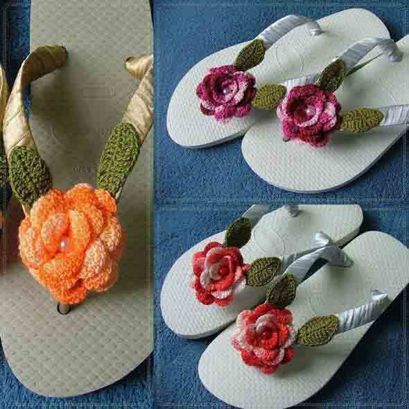 Decorar chinelo com crochê 004