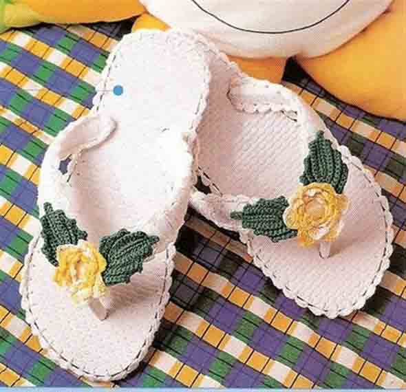Decorar chinelo com crochê 005