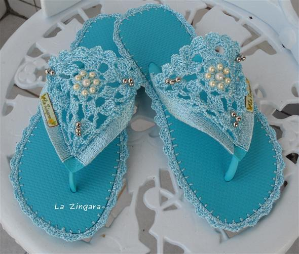 Decorar chinelo com crochê 009