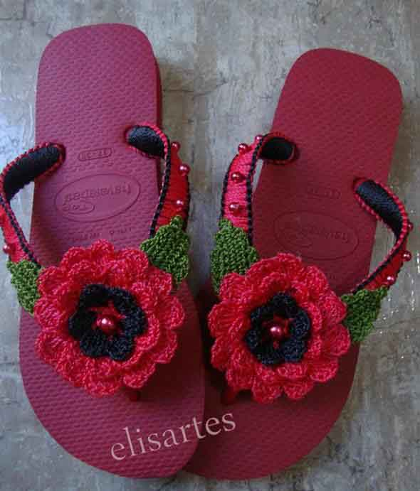 Decorar chinelo com crochê 010