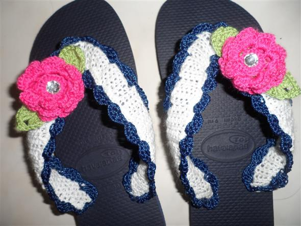 Decorar chinelo com crochê 014