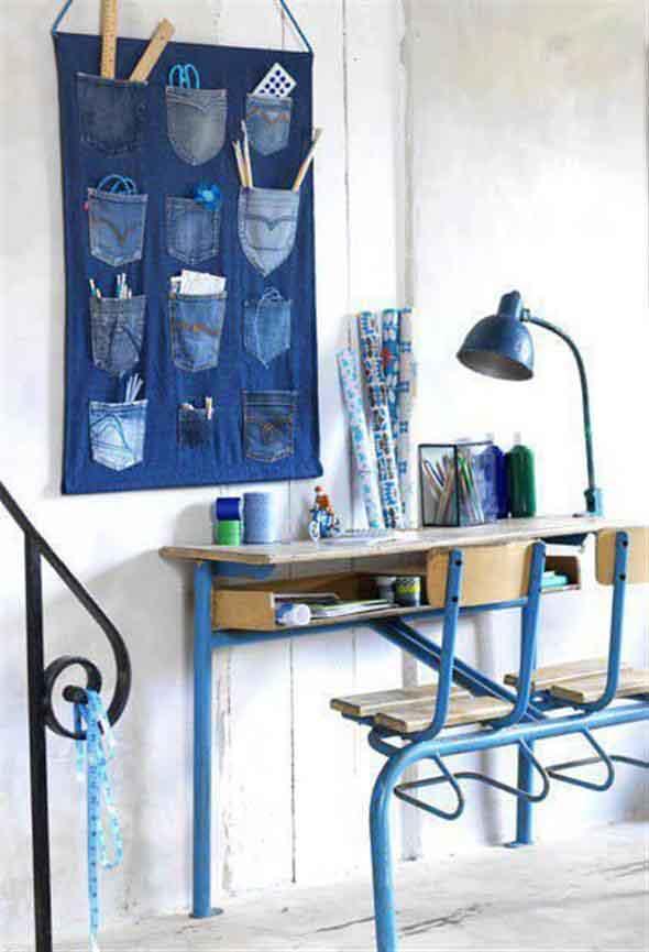 Painel organizador feito de jeans 007