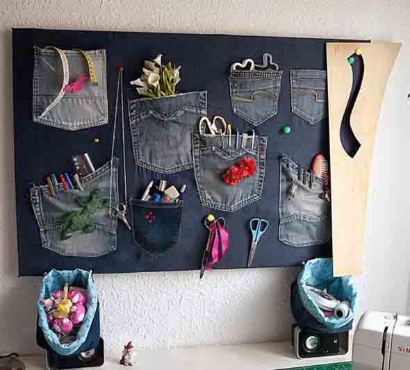Painel organizador feito de jeans 011