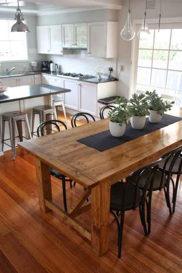 Mesa r stica com cadeiras modernas for Modelos de mesas cuadradas