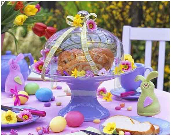 Decoração para almoço de Páscoa 010